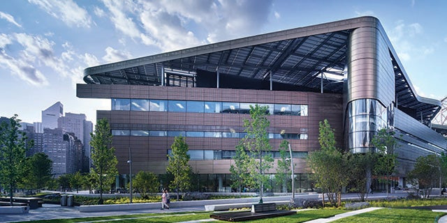 CGI of the Emma and Georgina Bloomberg Center at Cornell Tech on Roosevelt Island in New York