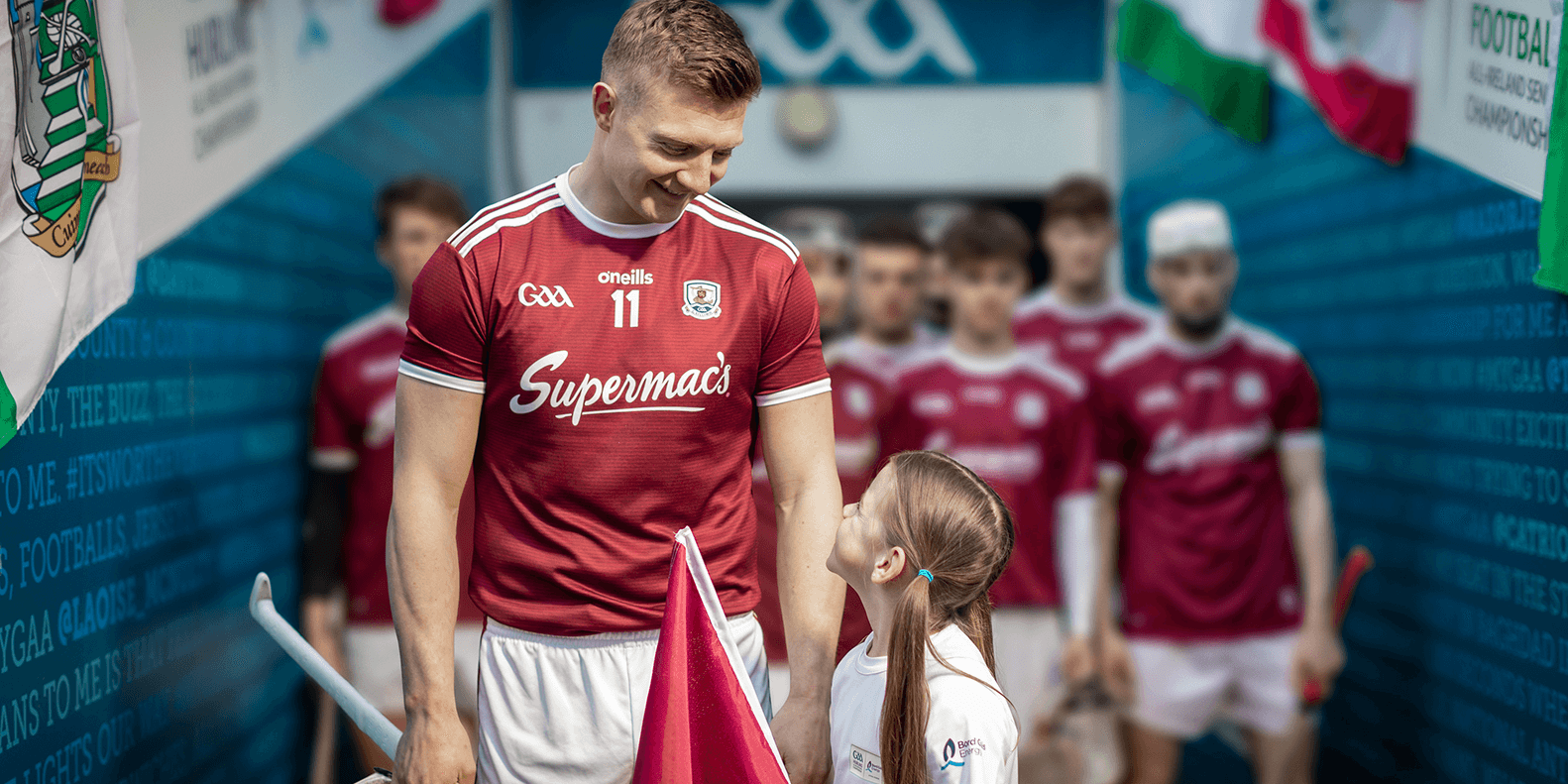 Joe Canning with flag bearer