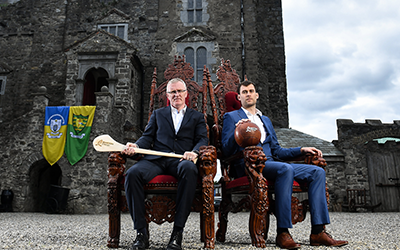 Eamon McGee and Brian Lohan outside Drimnagh Castle