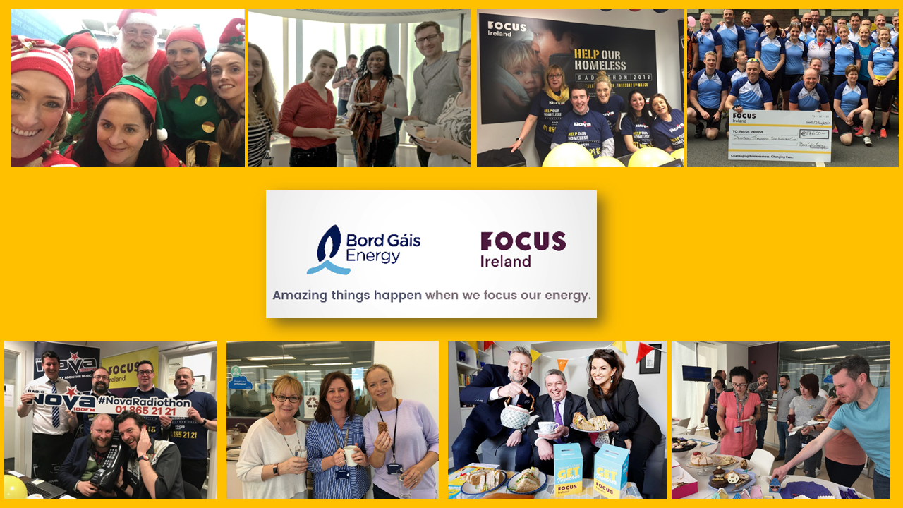 Pictures of Bord Gais Energy staff raising money for Focus Ireland