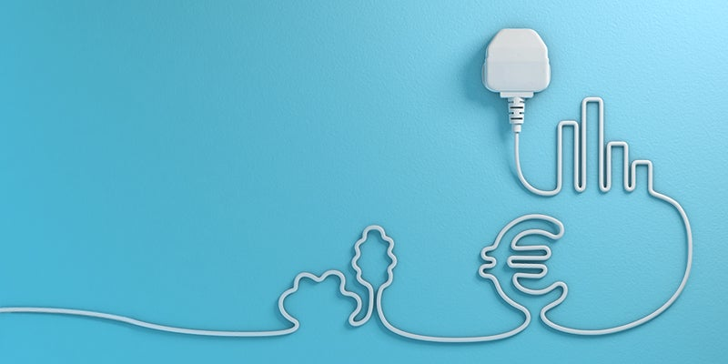 Plug cord creating picture for business