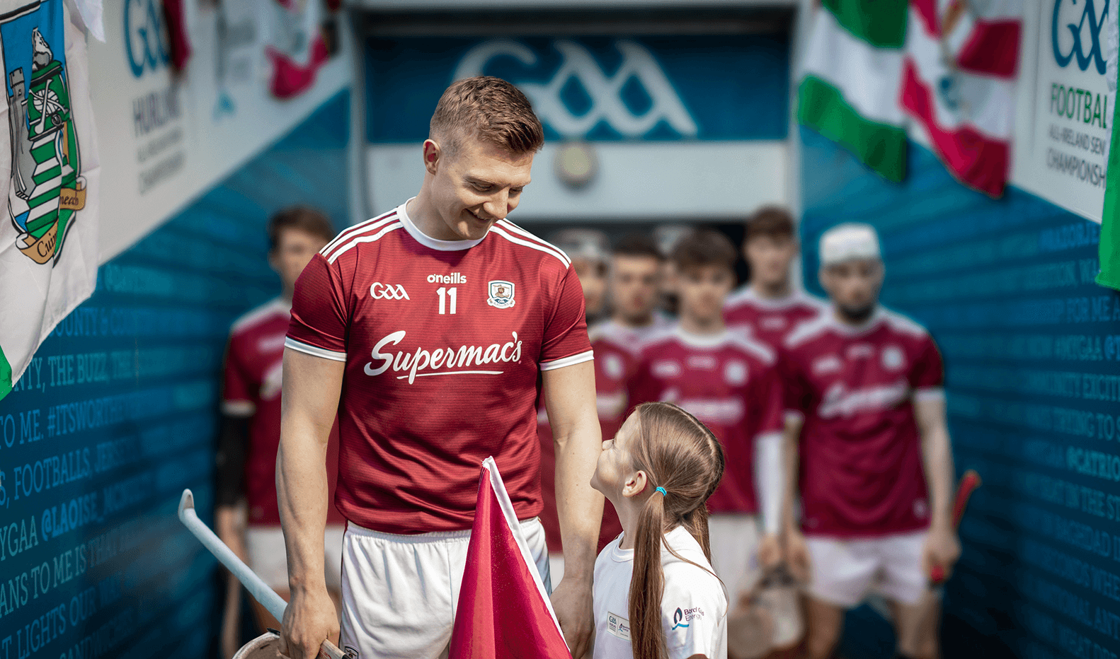 Joe Canning and flag bearer