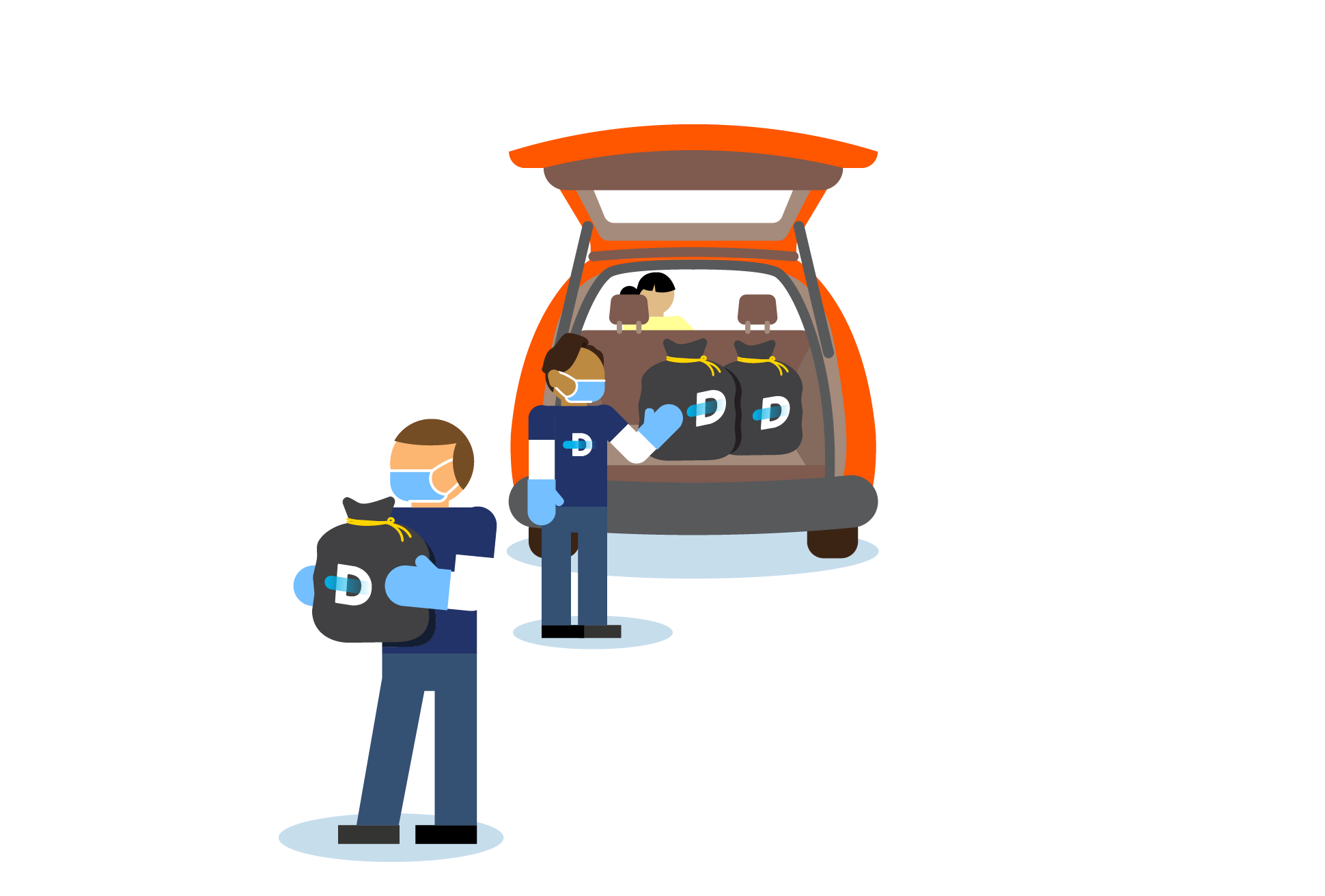 Illustration of Declutter staff wearing face masks and gloves; they are unloading bags of donations from a donor's a car.