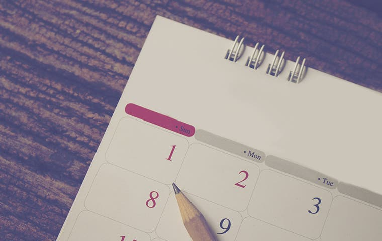 a calendar and a pencil