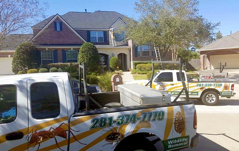 pest arrest trucks in front of a home in spring texas