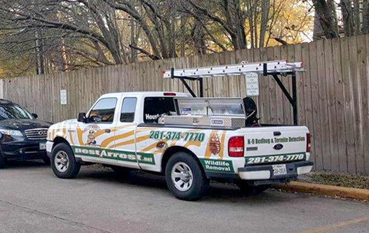 pest arrest company truck in spring texas