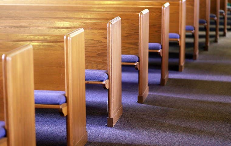 wooden church pews with blue cushions
