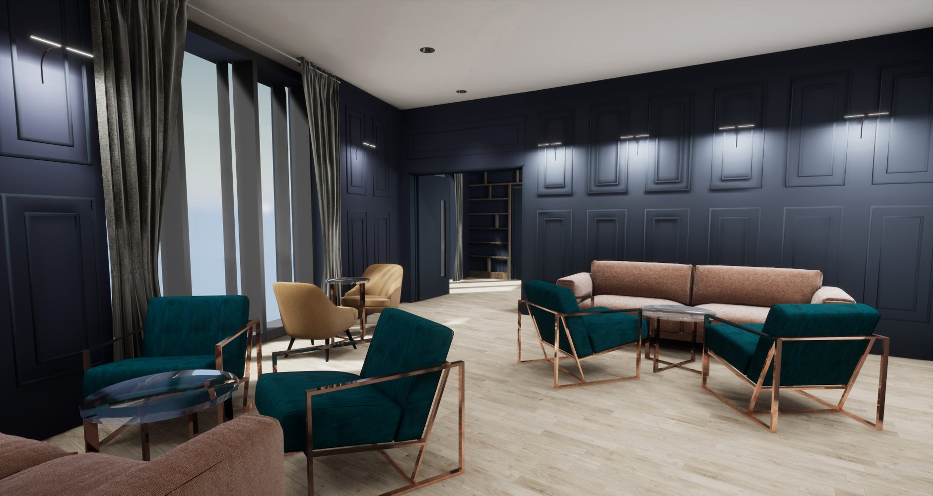 The Drawing Room at The Collective Canary Wharf.  Image courtesy of Denton Associates.