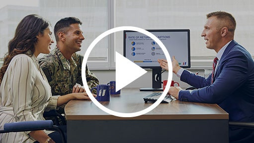 A video thumbnail with a play button and a smiling soldier getting financial coaching advice.
