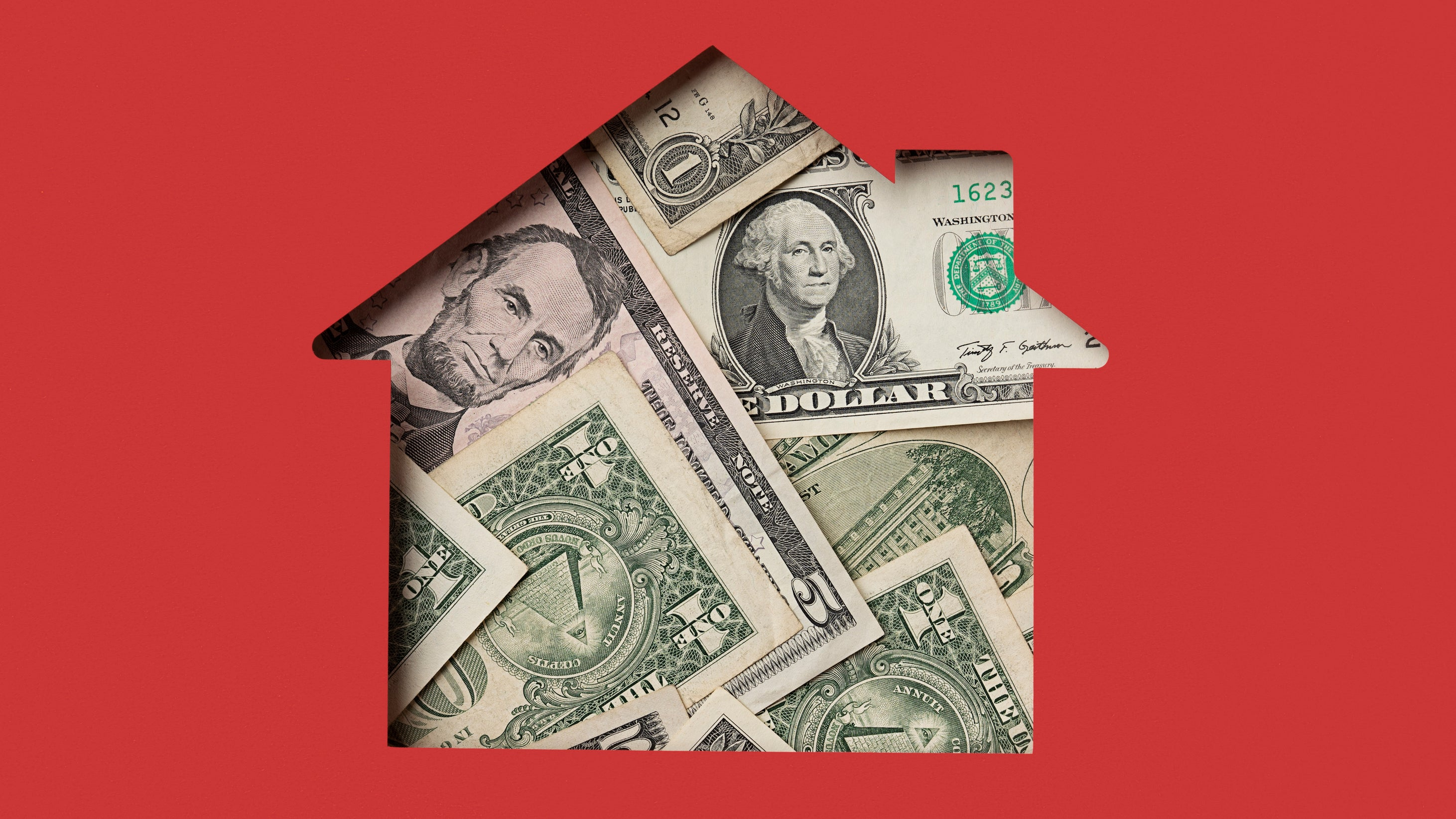 <p>A house made of dollar bills on a red background</p>