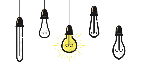 A set of hanging lightbulbs with the cord becoming less and less knotted, with the final one unknotted and lit.