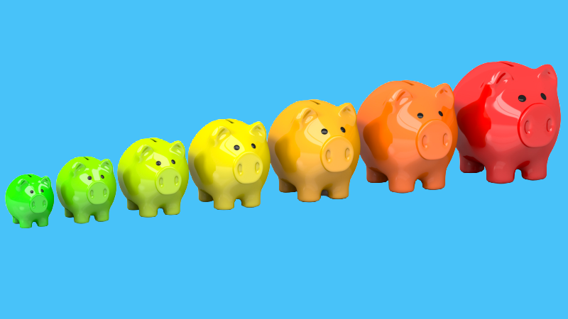 <p>A row of 7 piggy banks, arranged from small to large in bright colors, representing a family of 7</p>