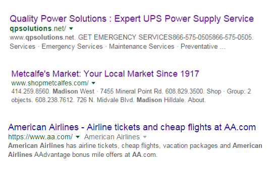 Screen shot of what your title tags look like in in the Google search results