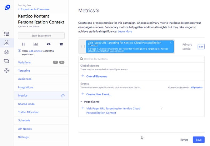 A screenshot of metrics within Optimizly.
