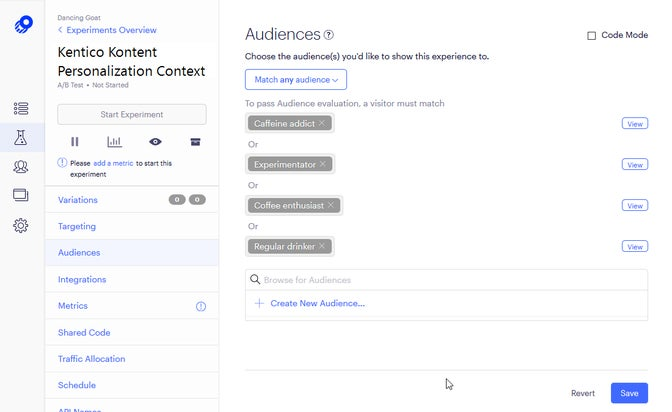 A screenshot of audiences for an experiment in Optimizly.