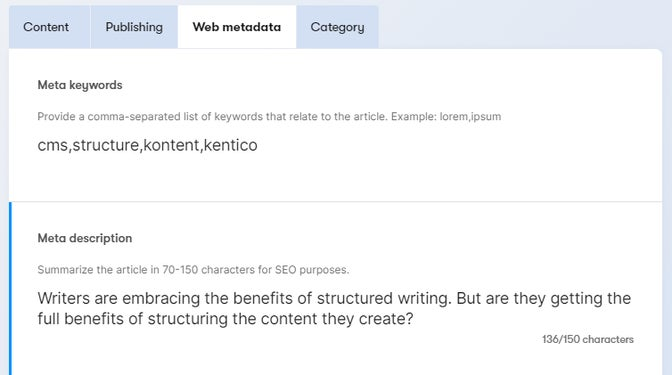 SEO metadata snippet as seen in a content item