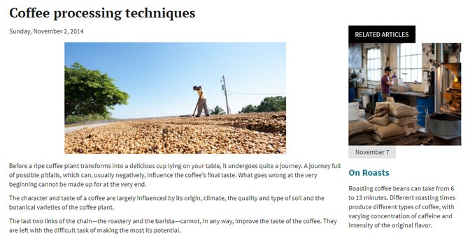 A screenshot of the article on our sample website.