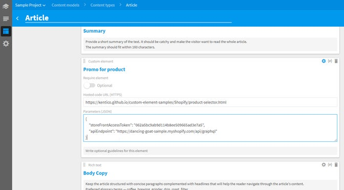 A screenshot of an Article content type with a Custom element for Shopify.
