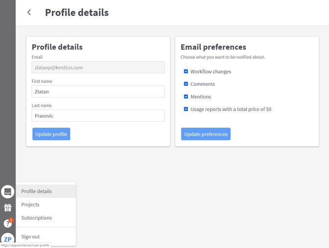 An image of the Profile details page