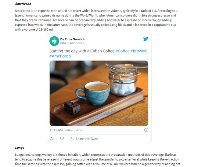 A tweet embedded in the article on a website.