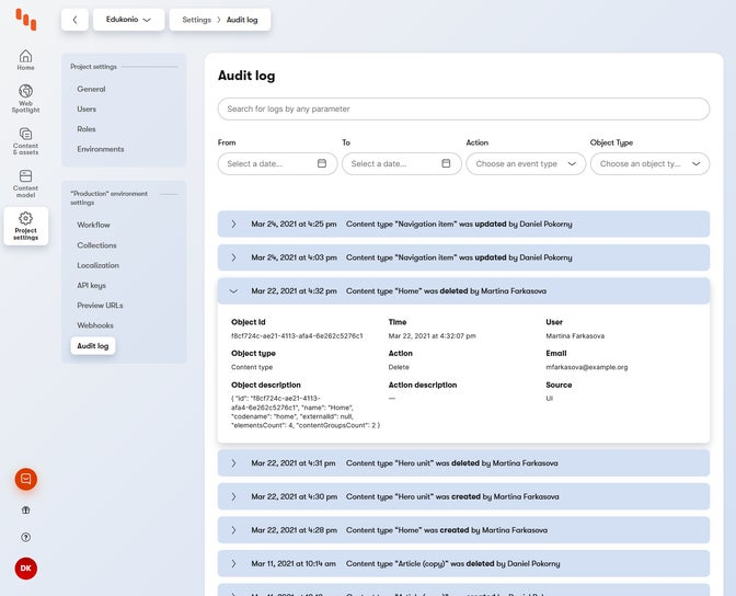 Project audit log with opened details of one event.
