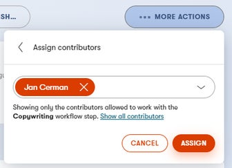 The Assign contributors dialog in a content item's More actions menu.