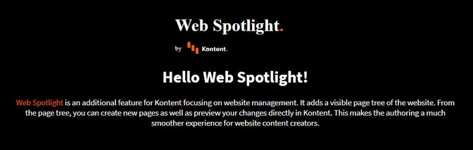 A simple website built using Web Spotlight