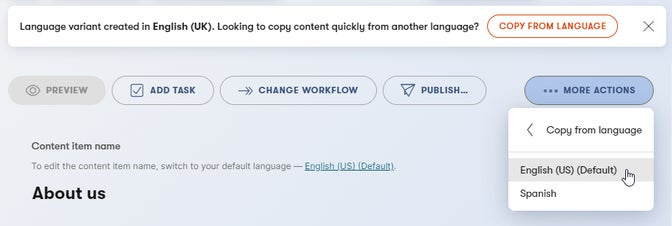 Showing how to copy content from another language.
