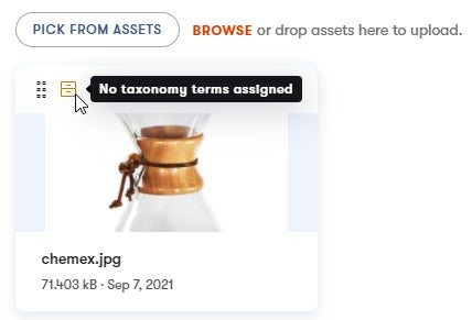 How uncategorized and untagged assets are labeled