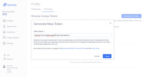A screenshot of generating a new token in Optimizly.