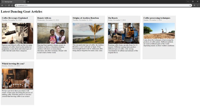 A screenshot of Ruby sample app with articles