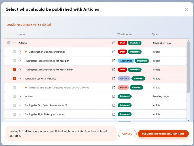 Publish item with its linked content