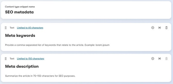 Example content type snippet with SEO metadata