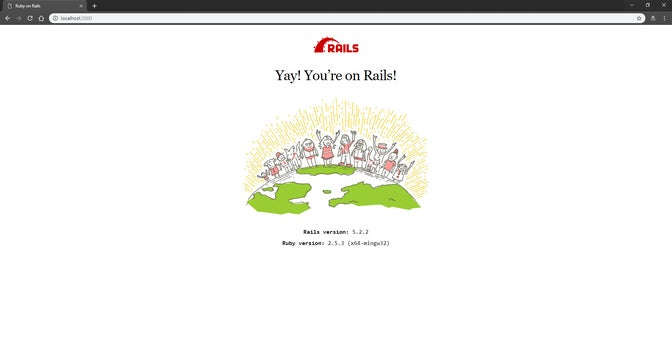 The default welcome page of a Ruby on Rails app