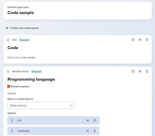 Code sample content type.