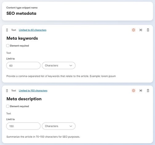 A configured example of SEO metadata content type snippet.