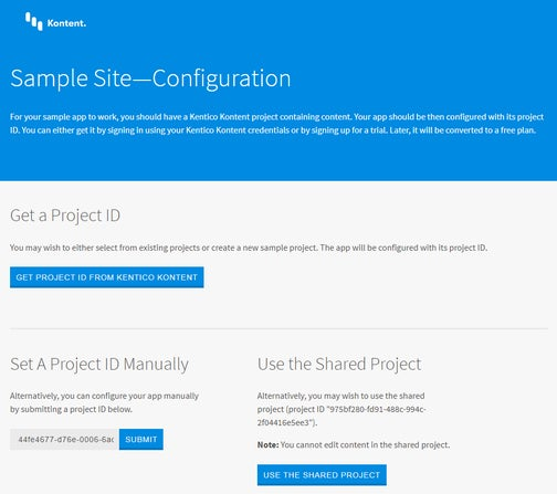A screenshot of the page to configure the sample app