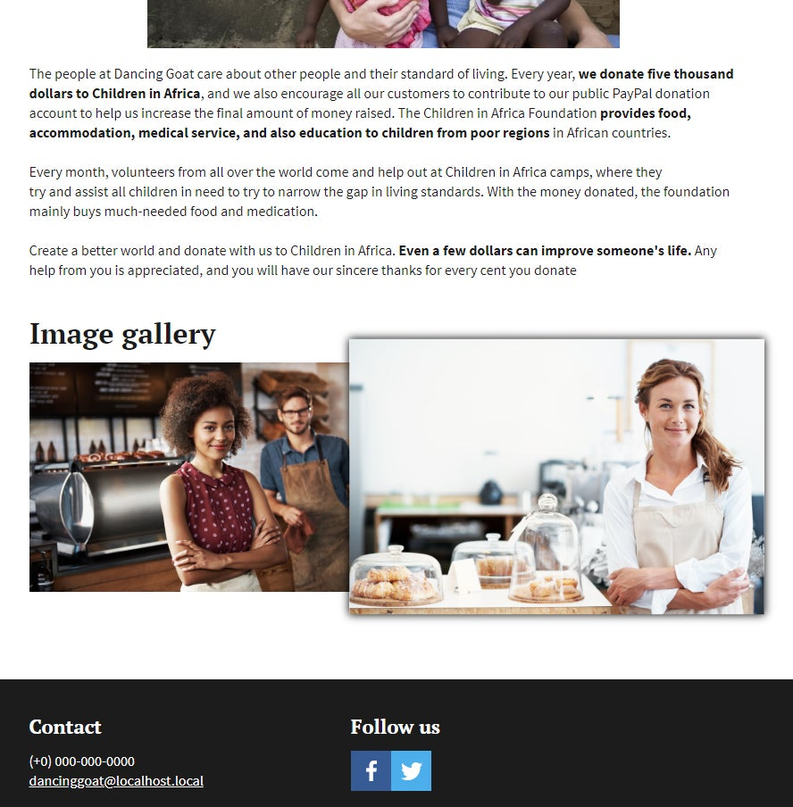 An image of an article with a Bynder-powered image gallery below it.