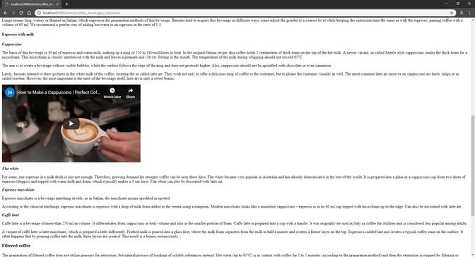 A screenshot of a ruby app with article and a video