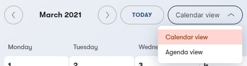 Switching between the calendar and agenda views.