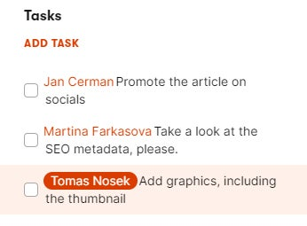 Tasks in a content item's sidebar.