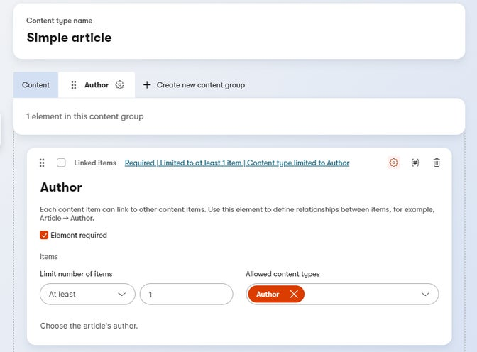 Author element added to a content type.