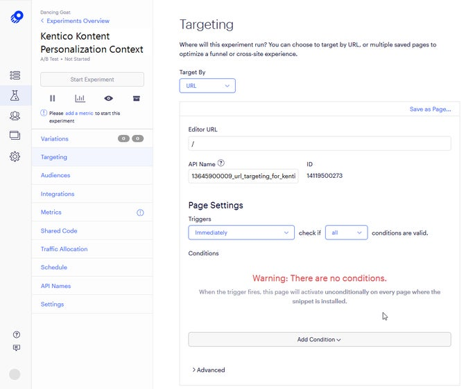 A screenshot of the Targeting tab in Optimizly.