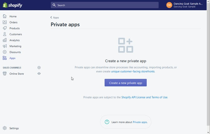 A screenshot of Shopify Private apps.