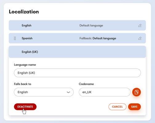 Deactivating a language in Kontent.