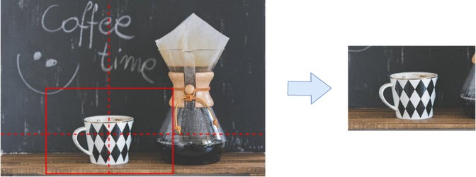 Example of how focal point determines which areas of the image are centered and within bounds of the image, and what gets cropped out.
