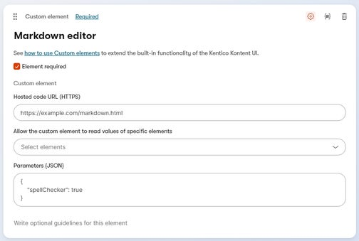 A custom element for a markdown editor configured with example values.
