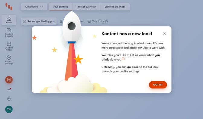 The new look's welcome message displayed during the first sign-in to Kontent.