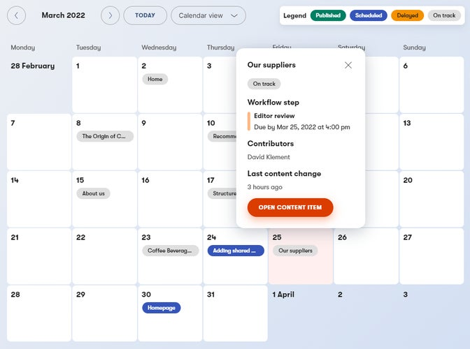 Editorial calendar with the calendar view and content item details opened.