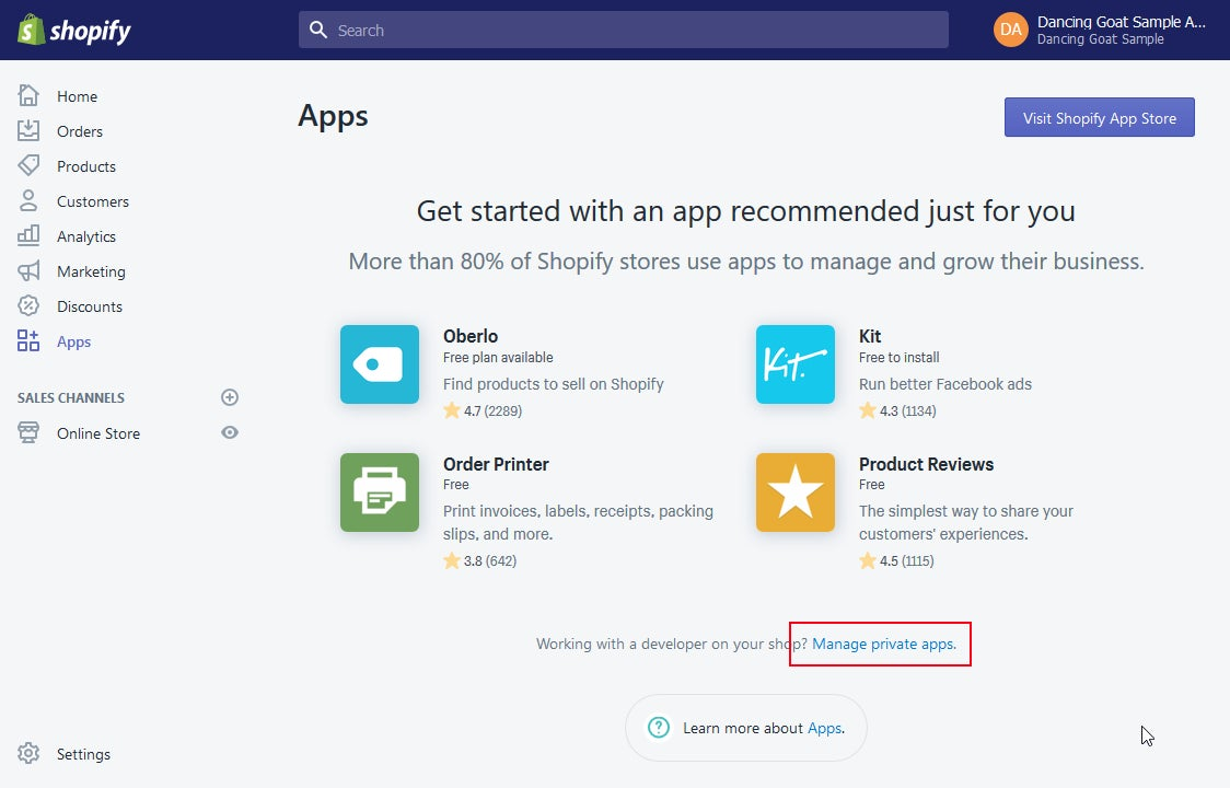 A screenshot of Shopify Apps showing where to mange private apps.